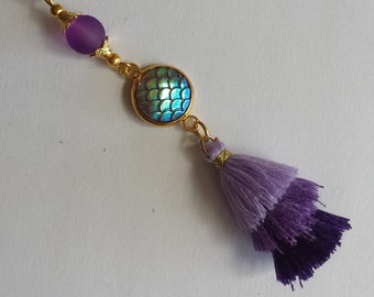 "Pendant 1 ""3 tassels purple + Cap acrylic tortoise shell iridescent + bead""-1.5x9.5cm"