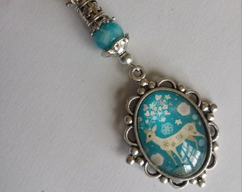 "Pendant 1 ""bambi 18x25mm cabochon glass beads and glass""-3x9.5cm"