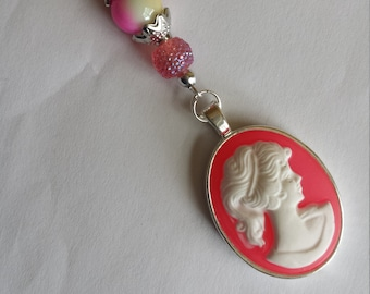 """Pendant 1 """"cameo resin glass beads and 22x30mm""""-2.5x10cm"""