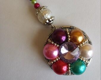 "1 pendant ""beads 10mm and 4mm multicolored glass + rhinestone glass -"" 3x10cm"