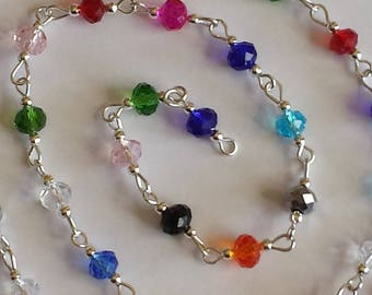 55cm of string/washers 6mm multicolored glass beads
