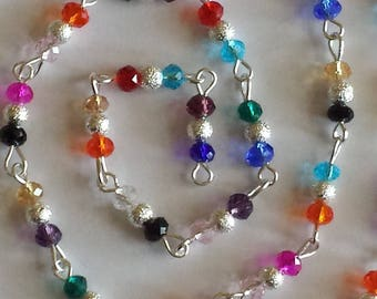 55cm of chain/beads rondelles 4mm multicolored glass and silver stardust beads