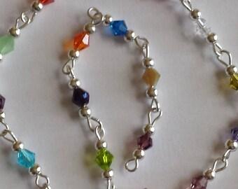 55cm of string/bicones 4mm multicolored glass