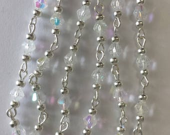 chain 55cm / 4mm Crystal AB glass bicone beads