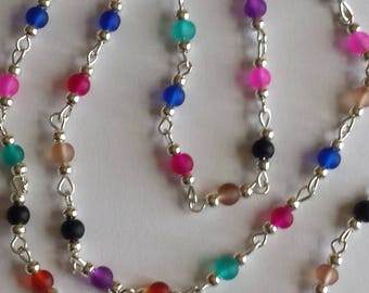 55cm of chain/beads 4mm multicolor frosted glass