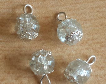 5 pendants 8mm white Crackle beads