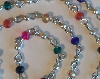 55cm of string/rondelles 4mm multicolored glass beads