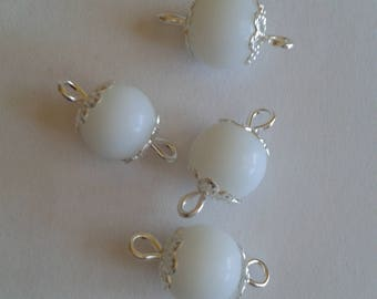 5 connectors 8mm frosted white glass beads