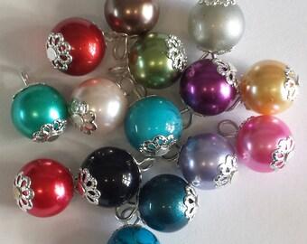 5 pendants 10mm multicolored glass beads
