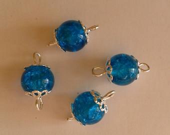 5 connectors 8mm blue Crackle glass beads