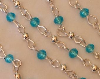 55cm of chain/beads 6mm aquamarine glass rondelles