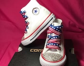 Classic White Authentic Chuck Taylor Hi Top Blinged Out Converse, Toddler Converse, Rhinestone Converse, Toddler Shoes, Children 39 s Converse