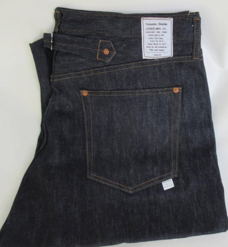 97a6095751 Lutece Mfg Co Quartermaster Denim Jeans 30-40s Style | Etsy