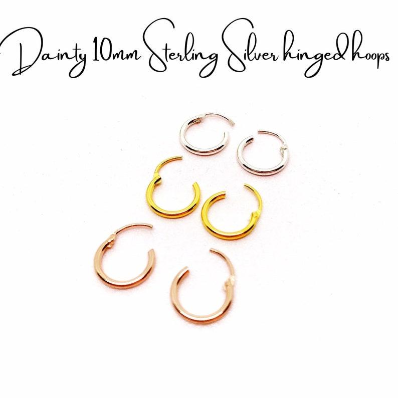 Sterling Silver Earrings Colourful Earrings Minimalist Earrings Unique Small Earrings Minimalist Hoop Earrings Rainbow Crystal Earrings