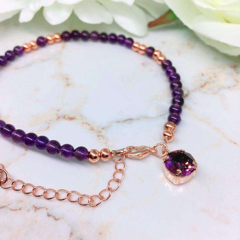 Birthstone Jewelry Personalized Bracelet Purple Stone Amethyst Gemstone Jewellery Amethyst February Birthstone Jewellery For Her
