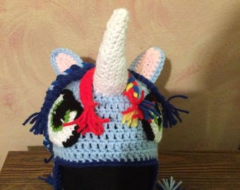 Unicorn (Blue) Earflap Hat