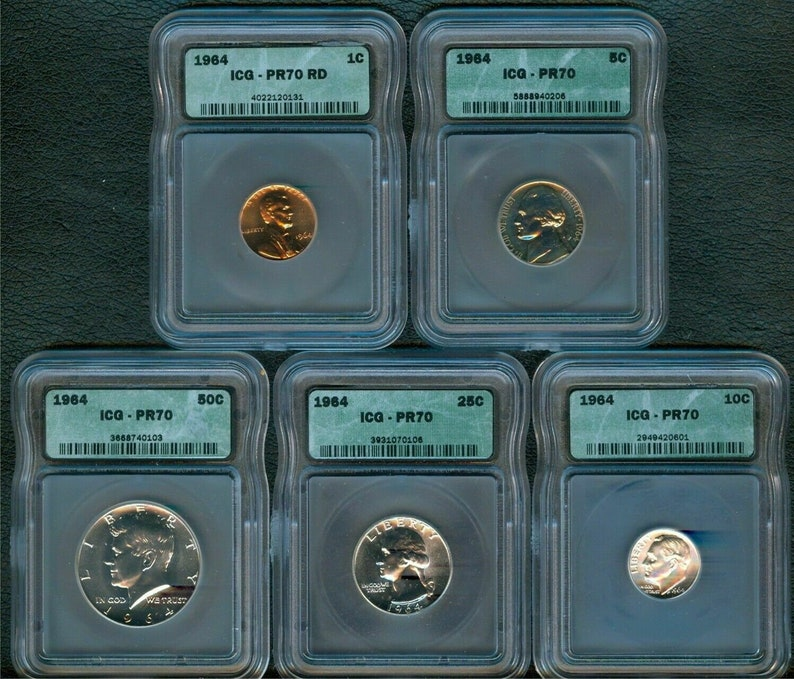 ICG Certified Lot 1964 Proof 70 KENNEDY, LINCOLN Book Value 6,115 00 Rare