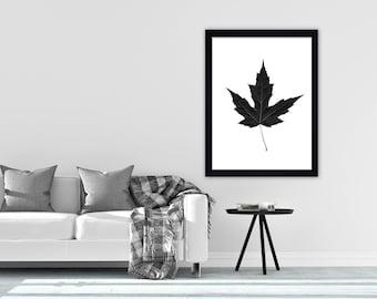 Leaf minimalist print monochrome wall art print black and white print scandi print nature print modern print leaf print
