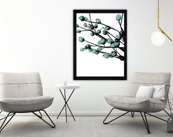 Minimalist print, monochrome print, black and white print, scandi print, flower print, modern print, floral print, contemporary print