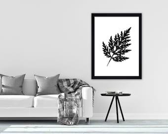 Leaf print black and white wall art print minimalist print monochrome print black and white print scandinavian print modern print