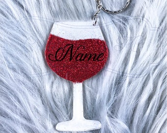 Personalized Wine Glass Keychain