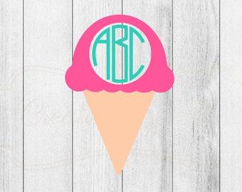 Monogrammed Ice Cream Cone Decal