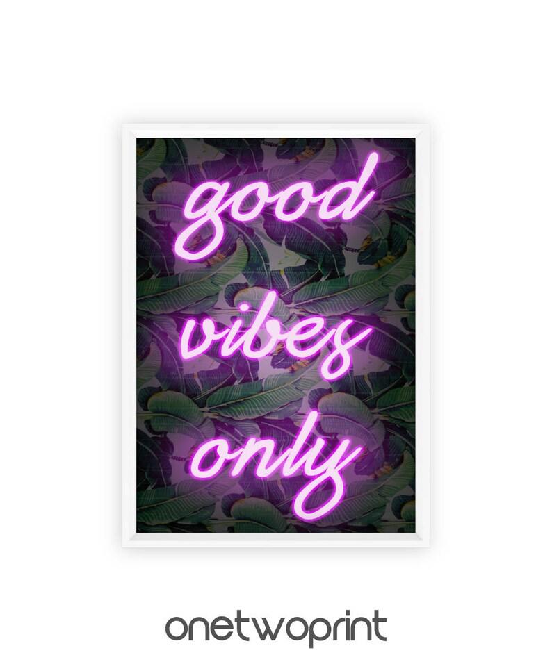 7990f3b20 Good Vibes, Neon Sign, Print, Banana Leaves, Banana Leaf, Positive Vibes,  Art Print, Good Vibes Only, Home Decor, Printable Online, Neon