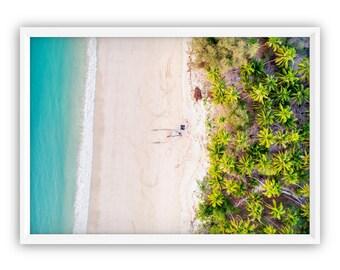 Aerial Beach, Art Print, Tropical Wall Poster, Digital Download, Palm Leaves, Aerial Beach Photo, Aerial Beach Prints, Tropical Leaf, beach