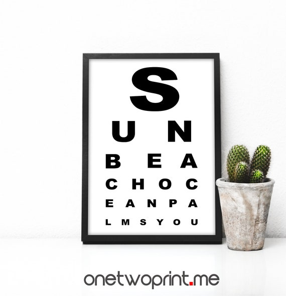 Eye Chart Print Snellen Eye Chart Printable Wall Art Eye Test Etsy