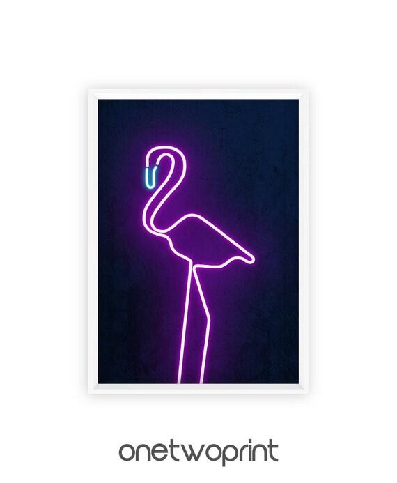 Neon Pink Flamingo Neon Lights Art Print Neon Sign Poster Etsy