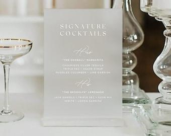 Acrylic & Vellum Signature Cocktail Menu - PLEASE READ LISTING