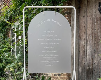 Arched Order of the Day Sign - Frosted Acrylic + White Ink - PLEASE READ LISTING