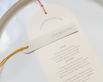 Arched/Rounded Menus in a Choice of Colour with Twine - PLEASE READ LISTING