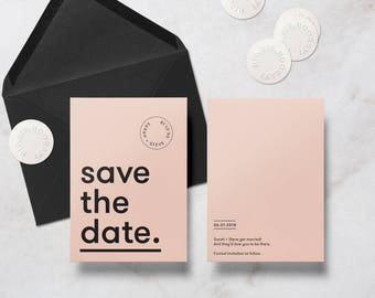 Custom colour Minimal Wedding Save the Date Card, includes Envelope & Sticker.