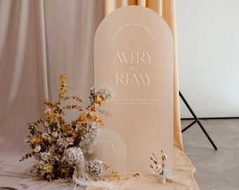 Arched Frosted Acrylic + White Ink Wedding Welcome Sign - PLEASE READ LISTING