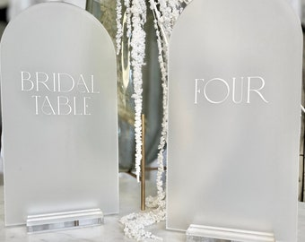 Frosted Acrylic Arch Table Numbers with Stand - SEE DETAILS BELOW...