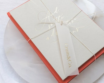 Set of 12 Gold Foil Pressed Thank You Cards with Choice of Envelope Colour - 'And so the adventure begins' - SEE DETAILS BELOW...