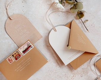 Arched Nude Vellum & Card Save The Date with Premium Envelope + Gold Sticker - PLEASE READ LISTING