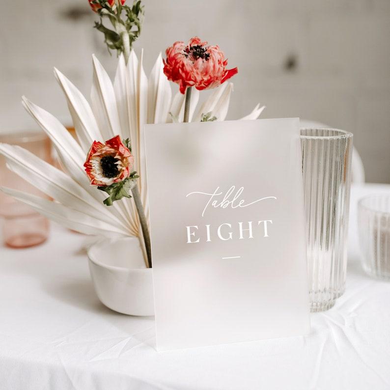 Acryl Tischnummer Hochzeit frosted