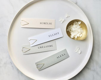 Slim Placecards with Gold Teardrop Clips - PLEASE READ LISTING