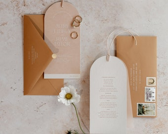 Arched Nude Vellum & Card Wedding Invitation with Premium Envelope + Gold Sticker - PLEASE READ LISTING