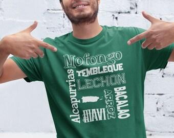 Puerto Rican Food Tshirt - Boricua Menu Tee Shirt - Puerto Rico Mofongo Foodie Unisex T-Shirt - Camiseta Boricua - Comida de Puerto Rico