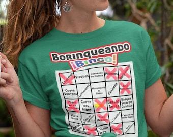 Getting to Know Puerto Rico - Borinqueando Bingo Tourism Game - Adult Unisex short sleeve t-shirt - Camiseta Boricua - Puerto Rican Tee