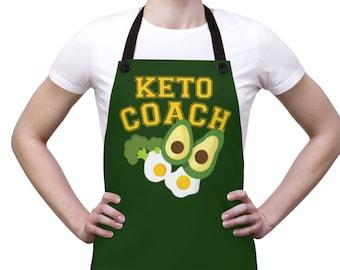 Keto Coach - Ketogenic Diet Nutritionist Apron - Keto Lifestyle, Avocado Lover Kitchen Apron
