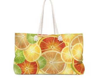 Watercolor Citrus Slice Weekender Bag - Orange, Lemon, Lime Fruity Beach Bag - So Fruity Collection - Spring Break Summertime Travel