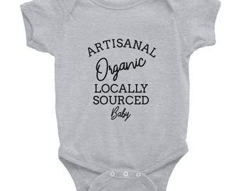 Artisanal Organic Locally Sourced Hipster Baby Cute and Funny One-Piece Infant Bodysuit