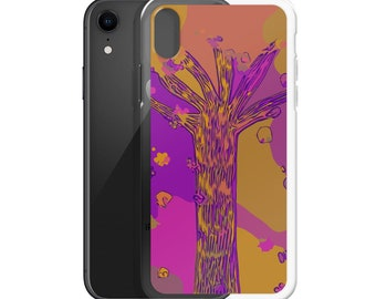 Ultraviolet Purple, Gold, Olive, Magenta Abstract Art Tree Phone Case for iPhone 6/6s, 6/6s Plus, 7/8, 7/8 Plus, iPhone X 10