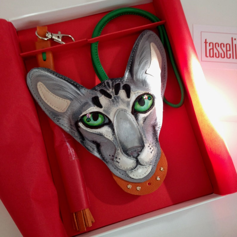 Cat lovers gift Personalised Hand Painted Cat Charm Oriental Tabby Cat Bag Charm Custom Order Silver Tabby Oriental Cat Charm