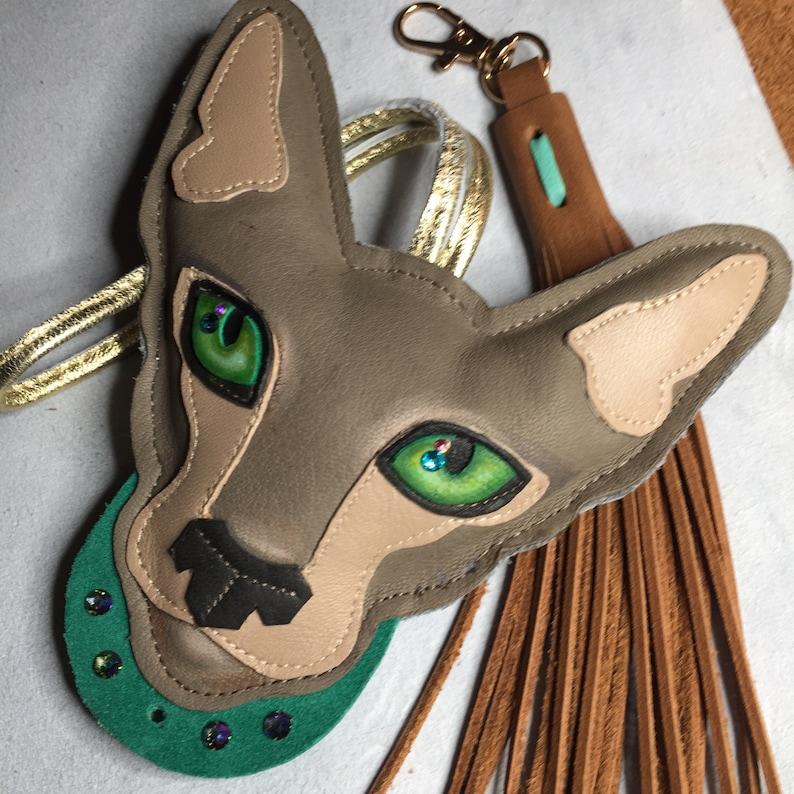Oriental Cat Bag Charm Leather Oriental Self Cat Oriental Cat Keychain Charm