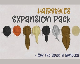 Expansion Pack HairyStyles | Build a Bundle Expansion Pack | Hair Clipart